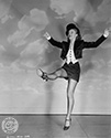 "Evelyn Keyes in a dance move from Columbia Studios' film, ""The Jolson Story"", 1946.  Evelyn plays Julie Benson, a star of Jolson's theatrical shows.  Julia and Jolson eventually get married and move to the country.  The performer in Jolson ulitmately overwhelms the husband he has become, and Julie is faced with marriage with a man who would rather be performing on stage than being husband to her.  Director Alfred E. Green's biographical musical drama, ""The Jolson Story"", 1946."