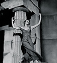 "Photos of Rita Hayworth: Rita Hayworth dances as a devine Greek muse. The 1947 studio caption for this print reads: ""Rita Hayworth appears as Terpsicore, the glamour goddess of classic Greece, in Columbia's Technicolor musical fantasy, 'Down to Earth"". Here Rita is glimpsed in a moment of the Greek ballet."