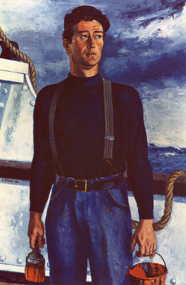 John Wayne as Seaman Ole, painted by artist Ernest Fiene and photographed by Ned Scott