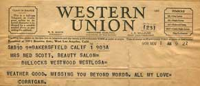 Telegram sent from Bakersfield, CA to Gwladys Scott